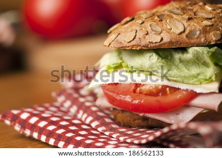 Healthy sandwich with ham,lettuce,cheese - stock photo