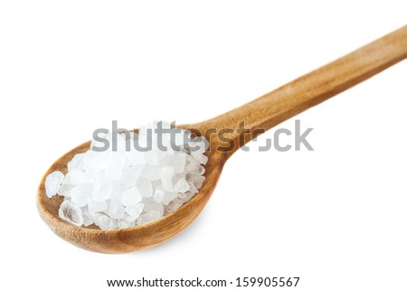 Healthy sea salt on wooden spoon isolated on white background - stock photo