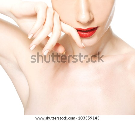 Healthy skin woman moving finger on her lip isolated on white background - stock photo