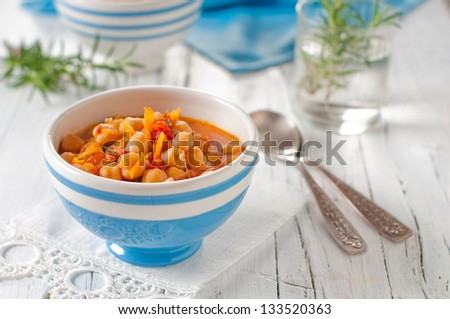 Healthy Soup with chick-pea and tomato - stock photo