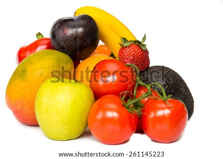 Healthy still life assortment of fruits and vegetable isolated on white background  - stock photo