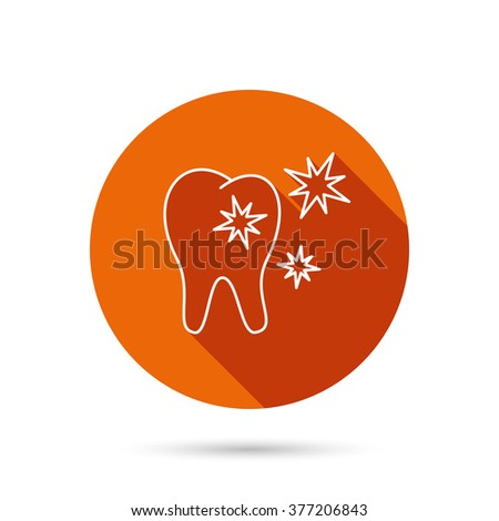 Healthy tooth icon. Dental protection sign. Round orange web button with shadow. - stock photo