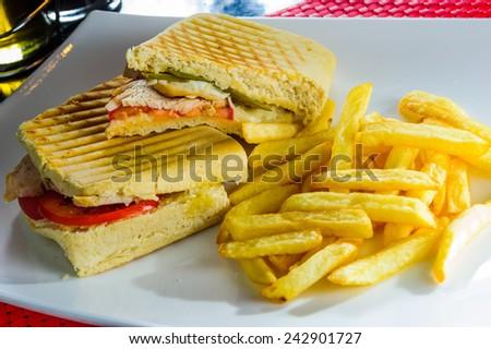 Healthy tuna panini sandwiches with french fries. - stock photo