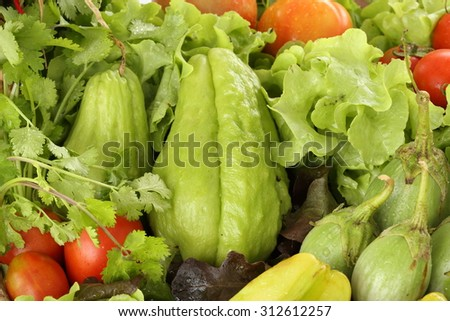 healthy vegetable food (organic and fresh food) - stock photo