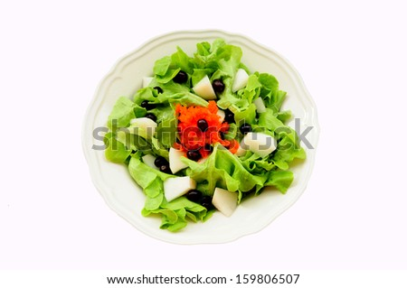 Healthy vegetable salad with butter head, Chinese pear, grape and Japanese ebi-go - stock photo