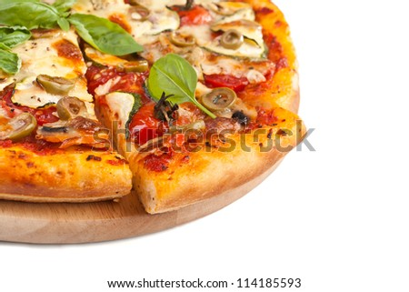 Healthy vegetables and mushrooms vegetarian pizza isolated on white background - stock photo