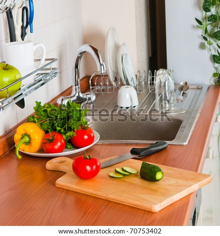 healthy vegetables in the kitchen close up shoot - stock photo