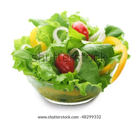 Healthy vegetarian Salad over white - stock photo