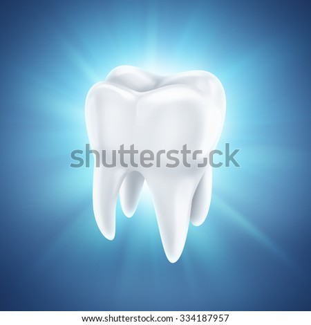 healthy white tooth on a shining blue background - stock photo