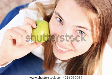 Healthy woman or Beautiful woman, Woman with apple, an Apple, Healthy lifestyle, Healthy food, Healthy teeth, Smiling woman or Diet woman, Healthy breakfast, Beautiful skin, Smiling face, Smiling girl - stock photo