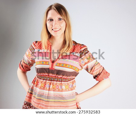 Healthy woman or Pregnant lady - stock photo