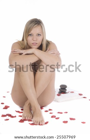 healthy woman over white - stock photo