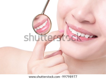 Healthy woman teeth and a dentist mouth mirror isolated on white background, model is a asian girl - stock photo