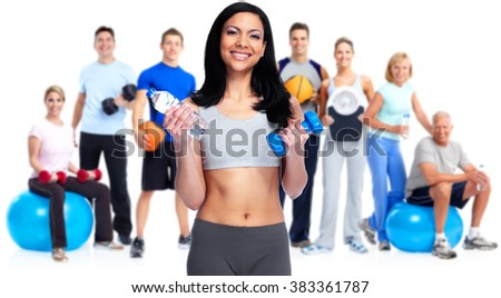 Healthy woman with dumbbell. - stock photo