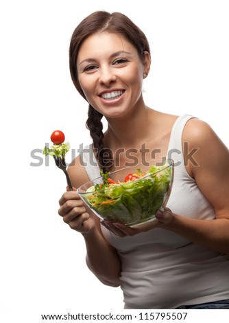 healthy woman with salad on white background - stock photo