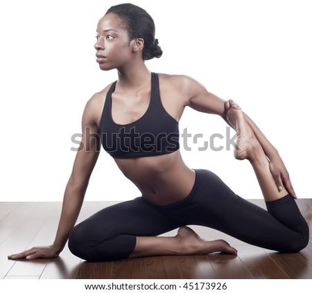 healthy women stretching in the danse studio - stock photo