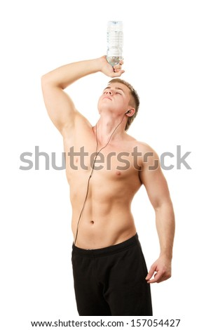 Healthy young man with water bottle isolated on white background - stock photo