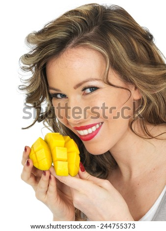 Healthy Young Woman Eating a Prawn and Noodle Salad - stock photo