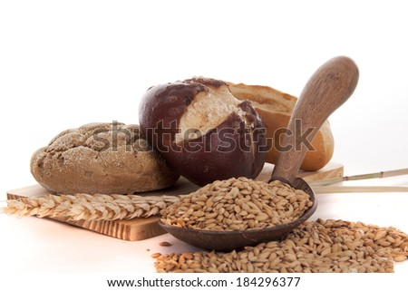 Healty bread and ingedients for breakfast - stock photo