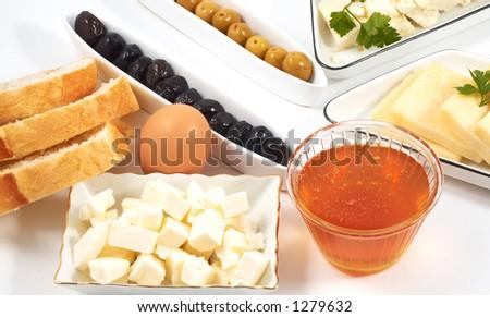 healty breakfast items, on white - stock photo