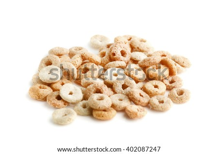 Heap cereals ring isolated on white - stock photo