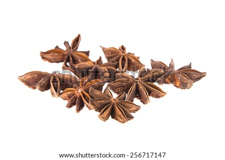 Heap Dried Anise. Isolated on White Background. - stock photo