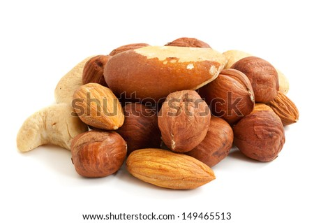 Heap from various kinds of nuts (almond, hazelnut, cashew, Brazil nut) isolated on white - stock photo