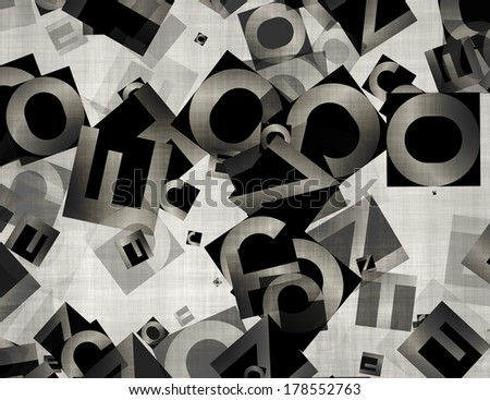 heap of abstract chaotic alphabet letters  - stock photo