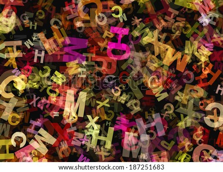 heap of abstract chaotic multicolored alphabet letters - stock photo
