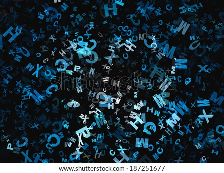 heap of abstract flying chaotic alphabet letters - stock photo