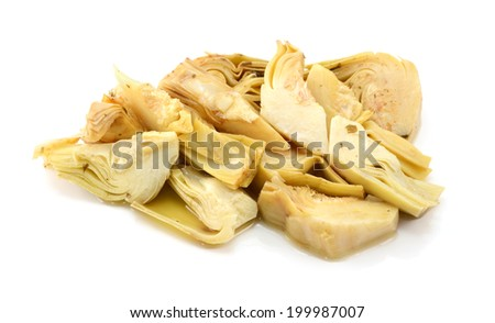 Heap of artichoke heart slices in olive oil and herbs, isolated on a white background - stock photo