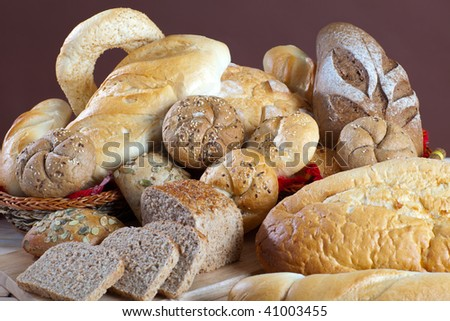 Heap of assortment of fresh bread - stock photo