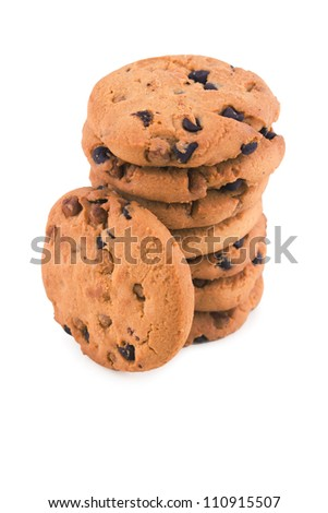 Heap of baked Chocolate Chip Cookies isolated on white background - stock photo