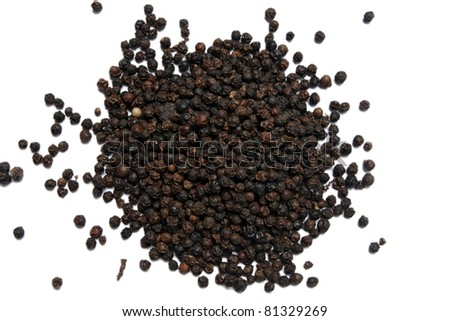 Heap of Black Pepper,Thai Indian Spice, isolated on White,Top Center View - stock photo