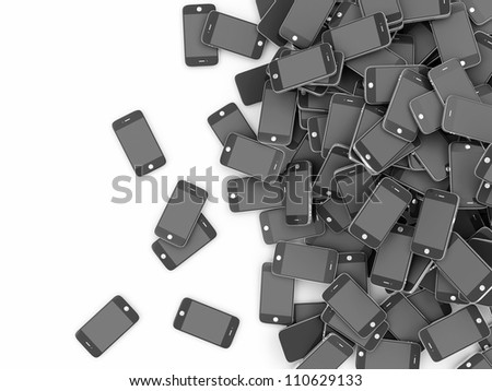 Heap of Black Smart Phones isolated on white background with place for your text - stock photo