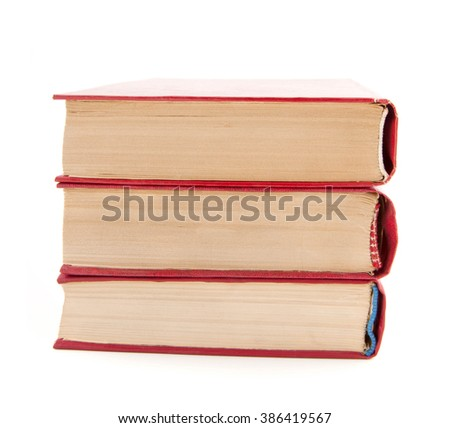 Heap of books isolated on white - stock photo