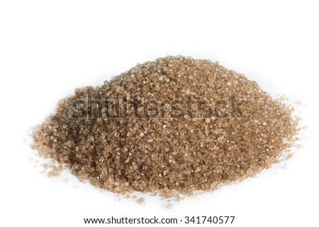 heap of brown Sugar isolated on white background - stock photo