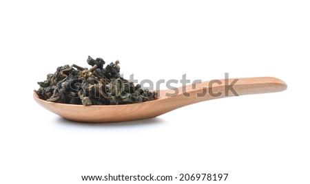 Heap of Chinese green tea - stock photo