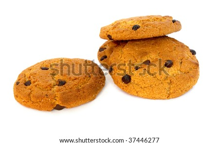 Heap of chocolate chip cookies isolated on white - stock photo