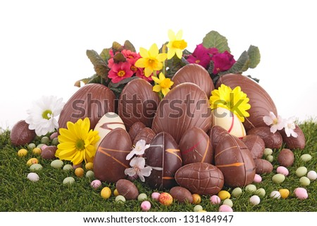 heap of chocolate easter eggs - stock photo