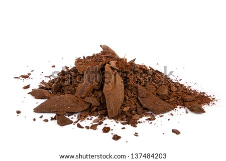 Heap of cocoa powder isolated on the white background - stock photo