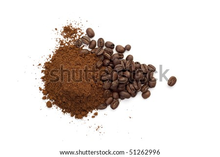 Heap of coffee beans and ground coffee - stock photo