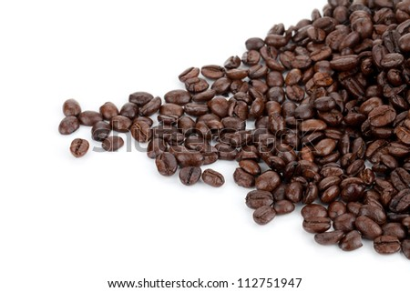 Heap of coffee beans. Isolated on white background - stock photo