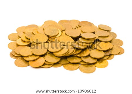 Heap of coins, isolated on white background - stock photo