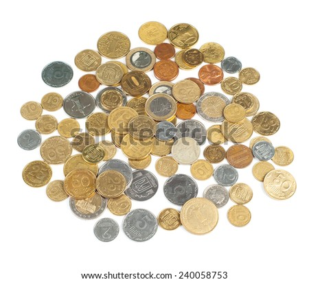 Heap of coins of different countries isolated on white background - stock photo