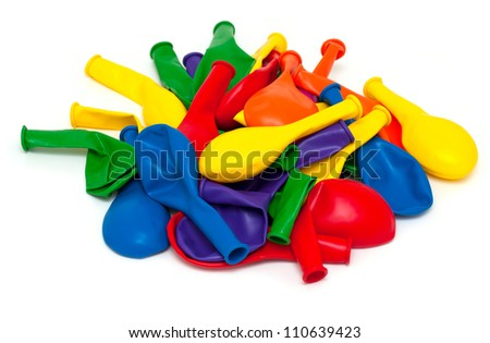 heap of colorful balloons isolated on white background - stock photo