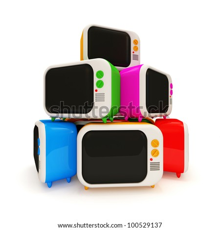 Heap of Colorful Retro TV on white background - stock photo