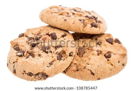 Heap of cookies isolated on white background - stock photo