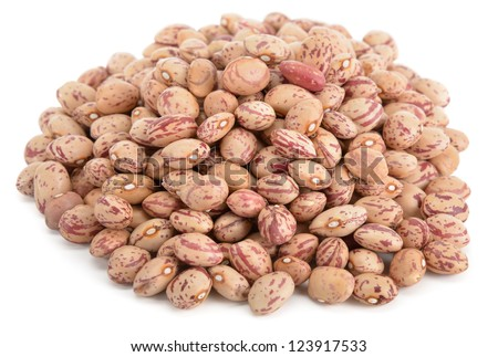 Heap of cranberry beans isolated on white background - stock photo