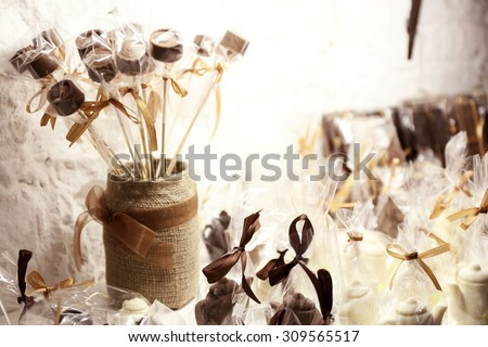 Heap of delicious chocolate candies  close up - stock photo